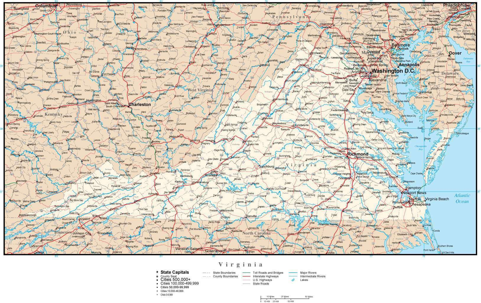Virginia State Map With Cities And Counties