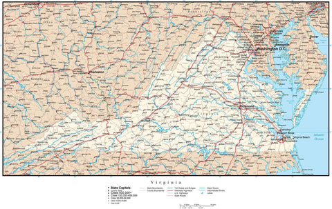 Virginia Map with Capital, County Boundaries, Cities, Roads, and Water Features