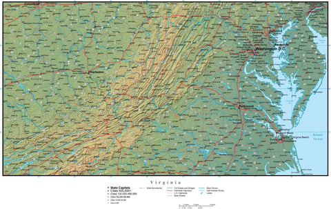 Digital Virginia Terrain map in Adobe Illustrator vector format with Terrain VA-USA-942192