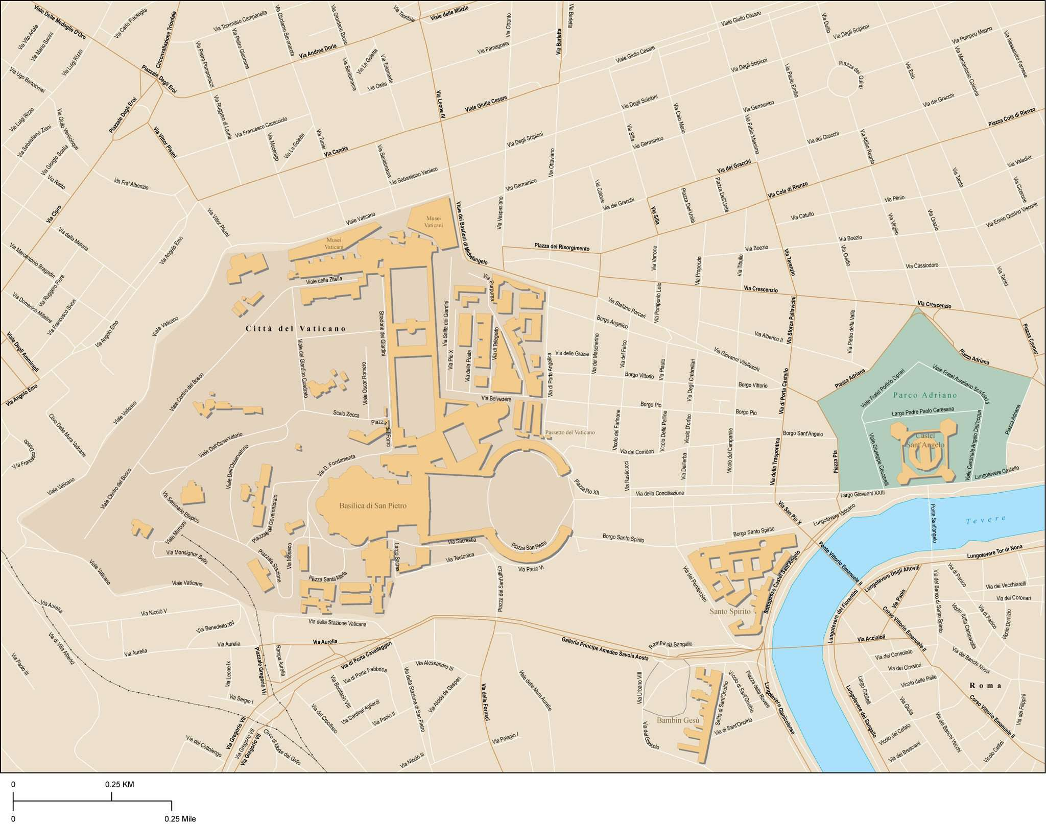 Vatican City Rome Italy Map with Local Streets
