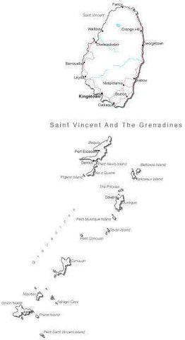 Saint Vincent & Grenadines Black & White Map with Capital, Major Cities, Roads, and Water Features