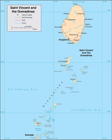 Digital Saint Vincent & Grenadines map in Adobe Illustrator vector format