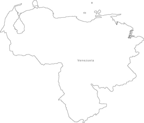 Digital Black & White Venezuela map in Adobe Illustrator EPS vector format