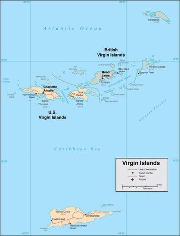 Digital Virgin Islands map in Adobe Illustrator vector format
