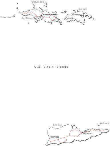 US Virgin Islands Black & White Map With Major Cities
