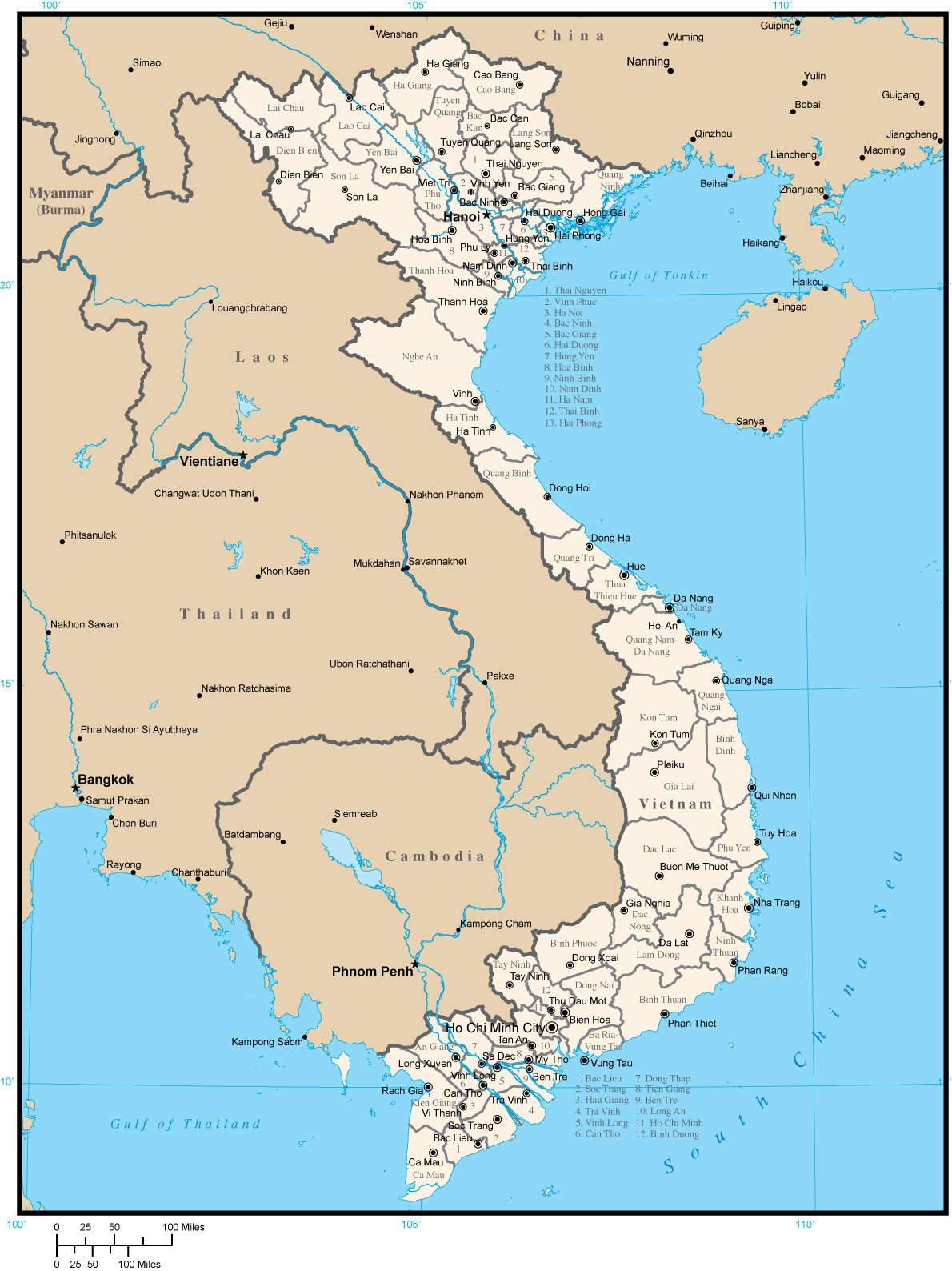 Vietnam Map with Province Areas and Capitals