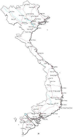Vietnam Black & White Map with Capital, Major Cities, Roads, and Water Features