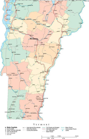Vermont State Map - Multi-Color Cut-Out Style - with Counties, Cities, County Seats, Major Roads, Rivers and Lakes