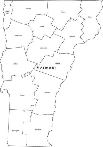 Black & White Vermont Map with Counties