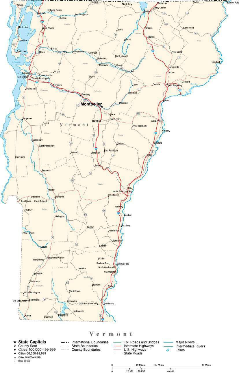 Vermont State Map in Fit-Together Style to match other states – Map ...