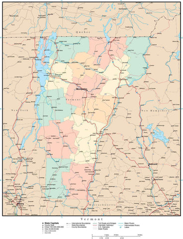 Vermont Map with Counties, Cities, County Seats, Major Roads, Rivers and Lakes