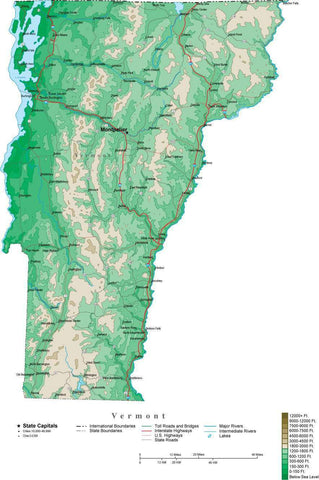 Vermont Map  with Contour Background - Cut Out Style