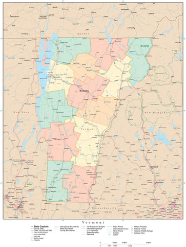 Detailed Vermont Digital Map with Counties, Cities, Highways, Railroads, Airports, and more