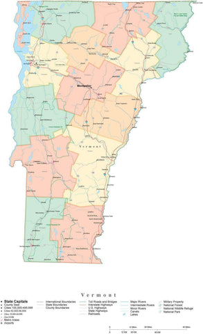 Poster Size Vermont Cut-Out Style Map with Counties, Cities, Highways, National Parks and more