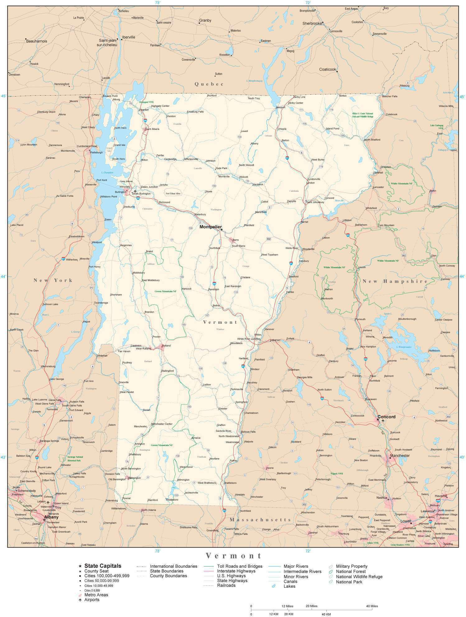 Detailed Vermont Digital Map with County Boundaries, Cities, Highways,  National Parks, and more