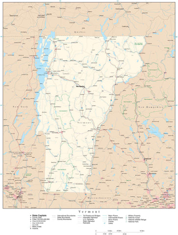 Poster Size Vermont Map with County Boundaries, Cities, Highways, National Parks, and more