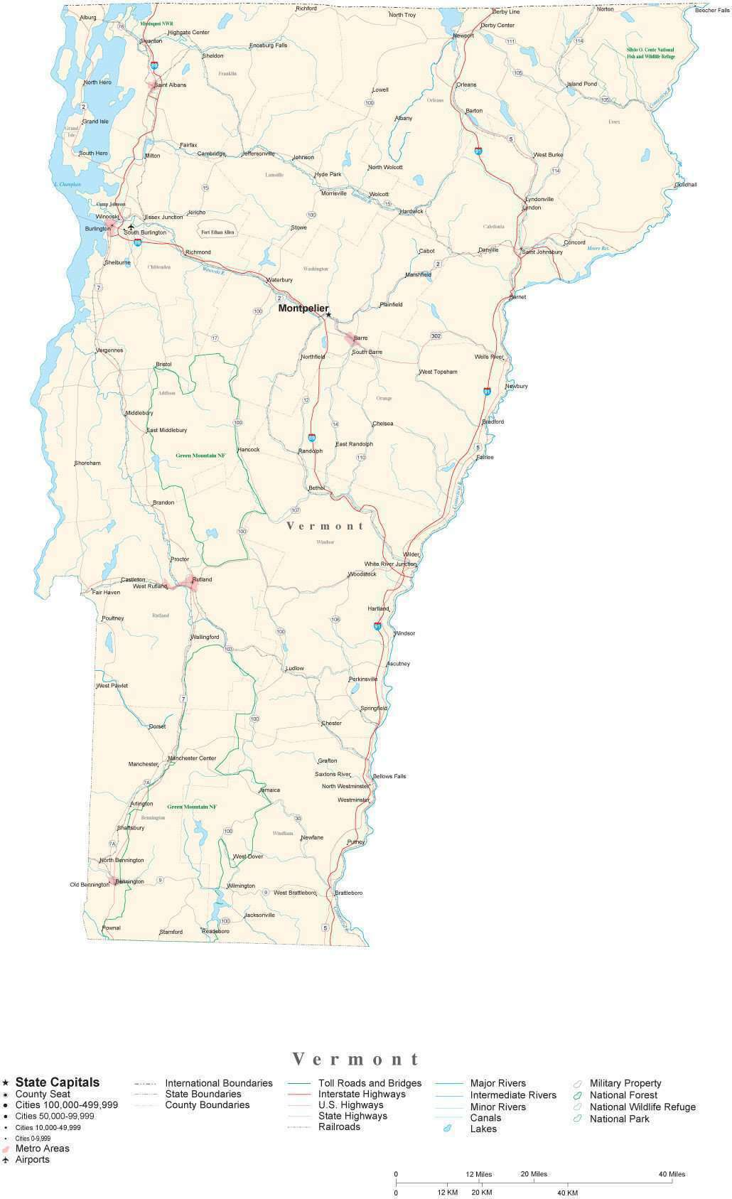 Detailed Vermont Cut-Out Style Digital Map with County Boundaries, Cities,  Highways, National Parks, and more