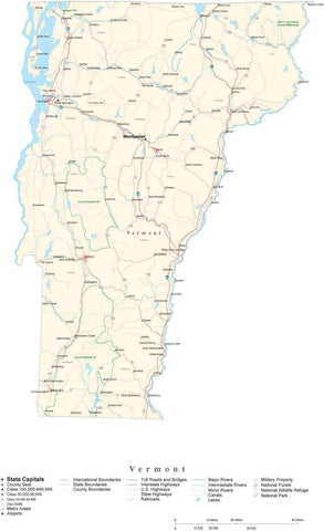 Poster Size Vermont Cut-Out Style Map with County Boundaries, Cities, Highways, National Parks, and more