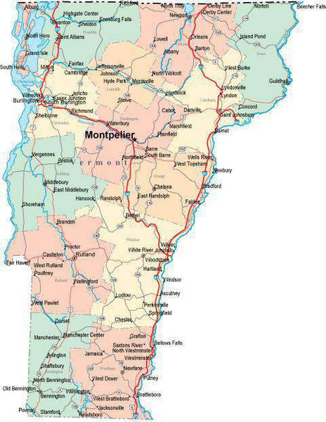 digital vermont state map in multi