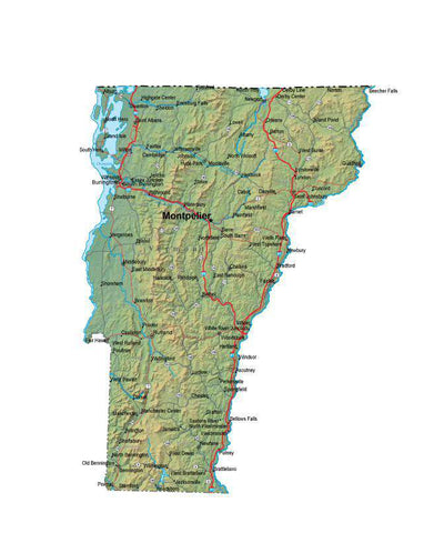 Digital Vermont map in Fit Together style with Terrain VT-USA-852136