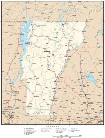 Vermont Map with Capital, County Boundaries, Cities, Roads, and Water Features