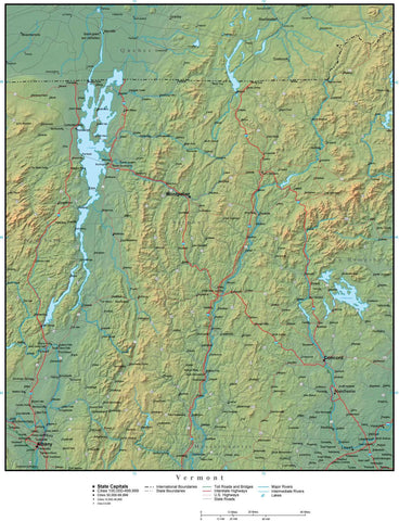 Digital Vermont Terrain map in Adobe Illustrator vector format with Terrain VT-USA-942222