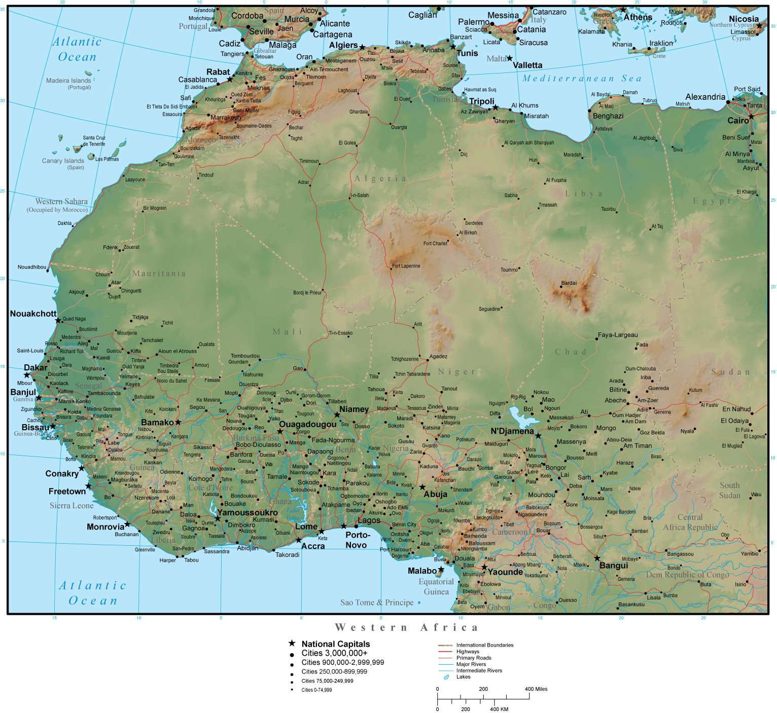 Western Africa Map Plus Terrain with Countries, Capitals, Cities, Roads, on map of ethiopia, map of benin, map of goa, map of martin luther, map of ghana, map of span, map of art, map of adobe, map of amer, map of asia, map of last, map of afr, map of amst, map of univ, map of soc, map of fren, map of history, map of nigeria, map of europe, map of namibia,
