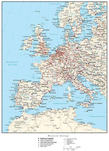 Western Europe 1 500 Map: Western Europe Map With Countries, Cities, And Roads