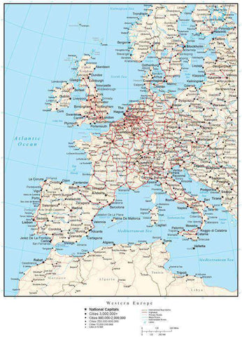 Western Europe Map with Country Boundaries, Capitals, Cities, Roads and Water Features