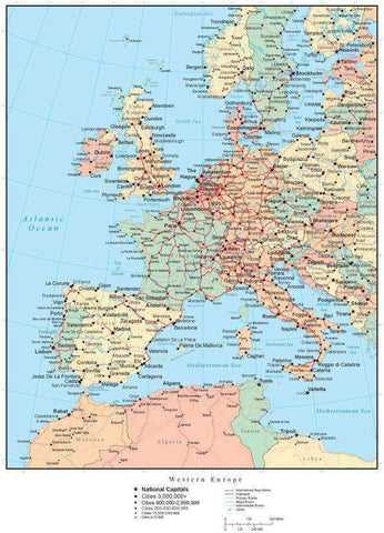 Western Europe Map with Countries, Capitals, Cities, Roads and Water Features