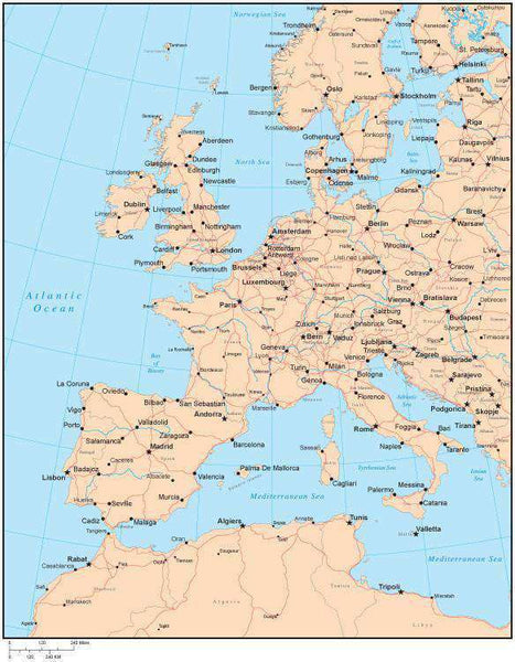 Single Color Western Europe Map with Countries, Capitals ...