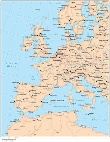 Single Color Western Europe Map with Countries, Capitals, Major Cities and Water Features