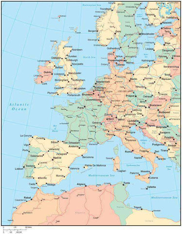 Multi Color Western Europe Map with Countries, Capitals, Major Cities and Water Features