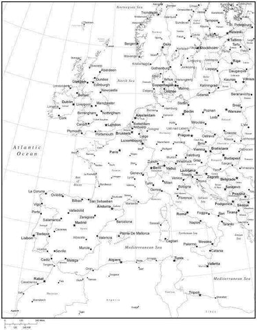 Black & White Western Europe Map with Countries, Capitals and Major Cities - W-EURO-533944