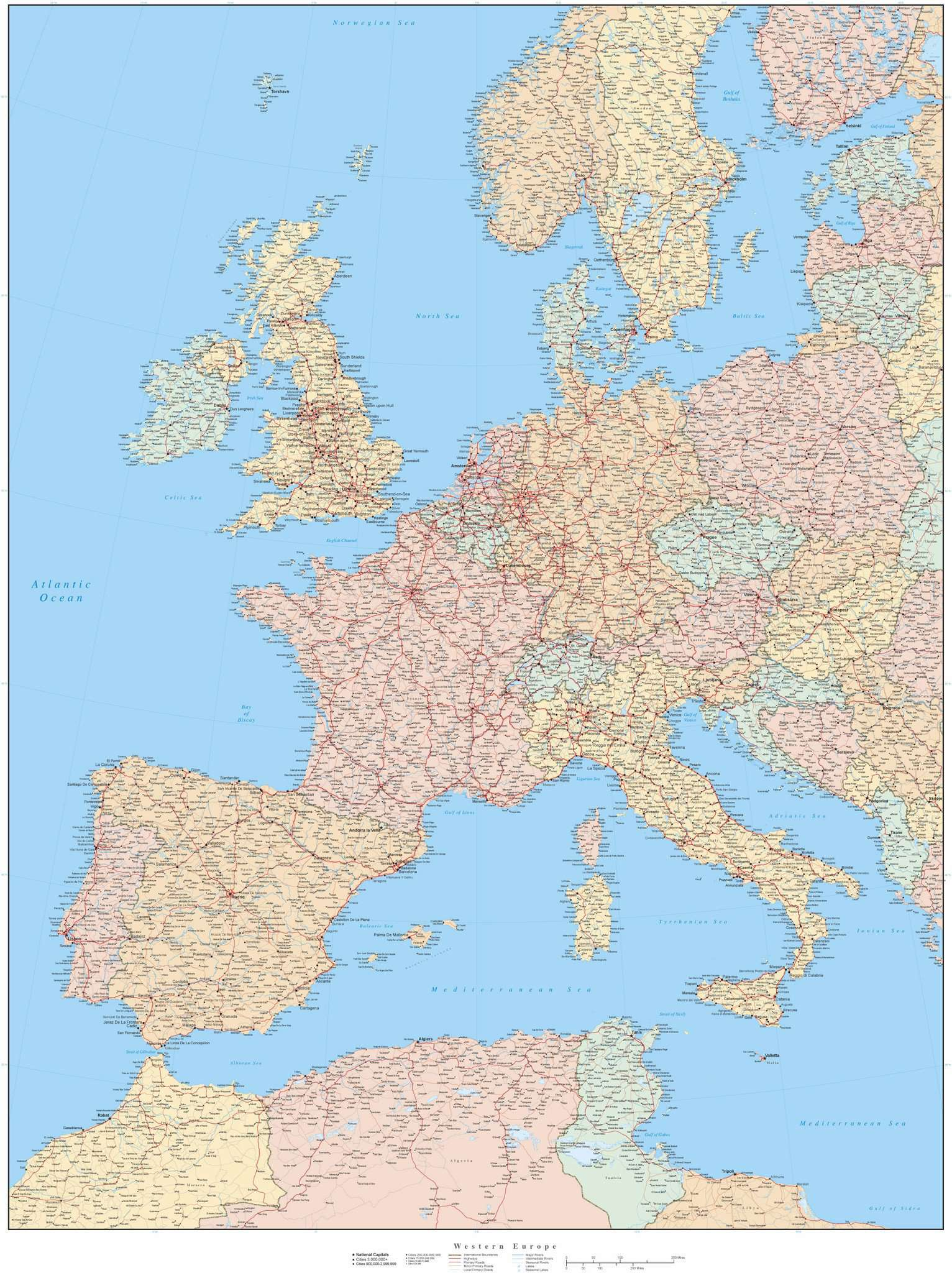 Picture of: Western Europe Map In Adobe Illustrator Vector Format