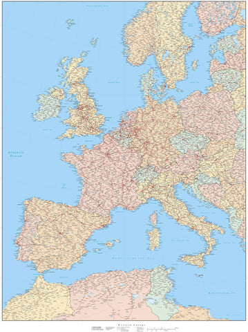 Detailed Western Europe map in Adobe Illustrator vector format