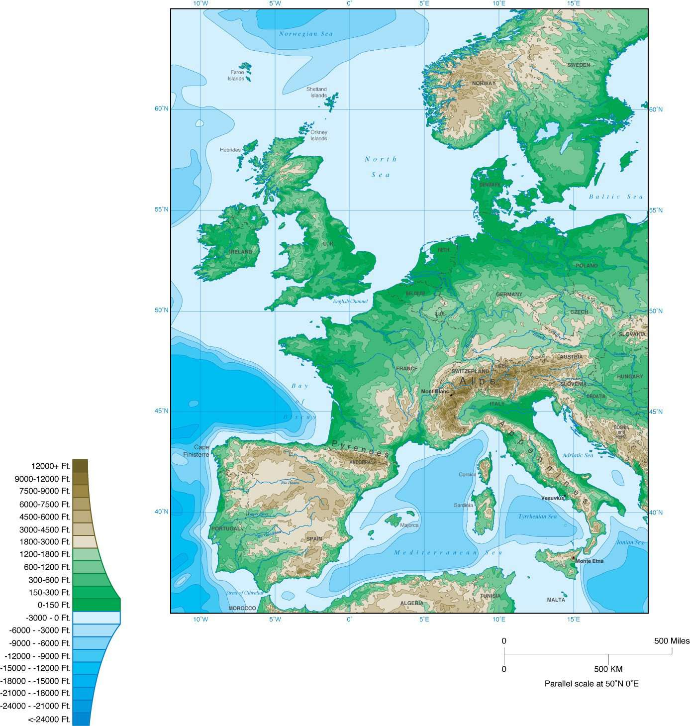 Western Europe Map with Contours