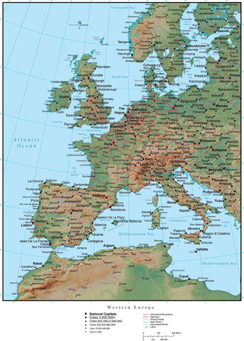Western Europe Terrain map in Adobe Illustrator vector format with Photoshop terrain image W-EURO-952908