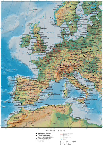 Western Europe Map with Land and Ocean Floor Terrain