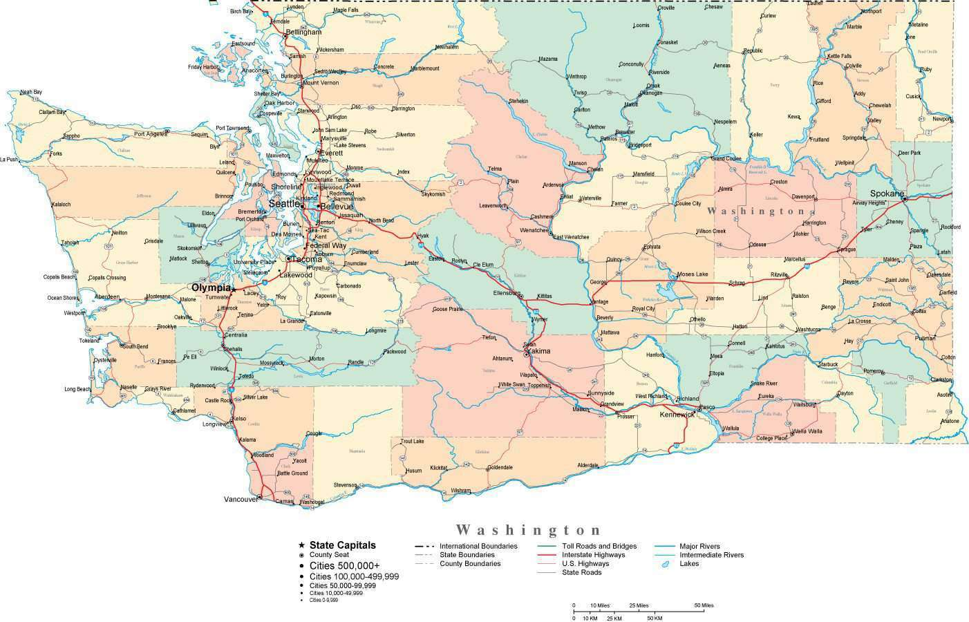 Picture of: Washington Digital Vector Map With Counties Major Cities Roads Rivers Lakes