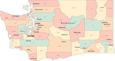 Multi Color Washington Map with Counties, Capitals, and Major Cities