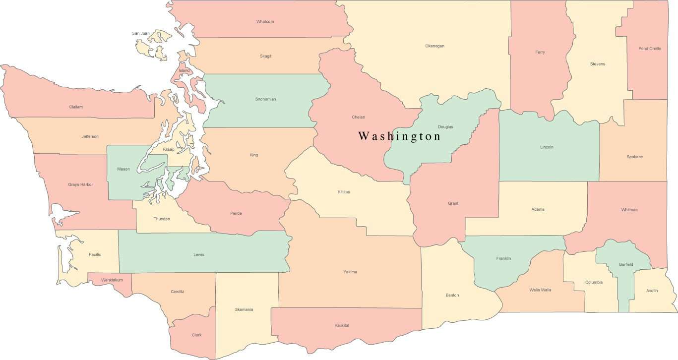 Multi Color Washington Map With Counties And County Names Map