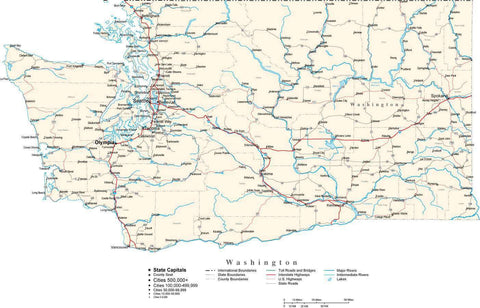 Washington Map - Cut Out Style - with Capital, County Boundaries, Cities, Roads, and Water Features