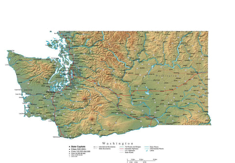 Digital Washington State Illustrator cut-out style vector with Terrain WA-USA-242039