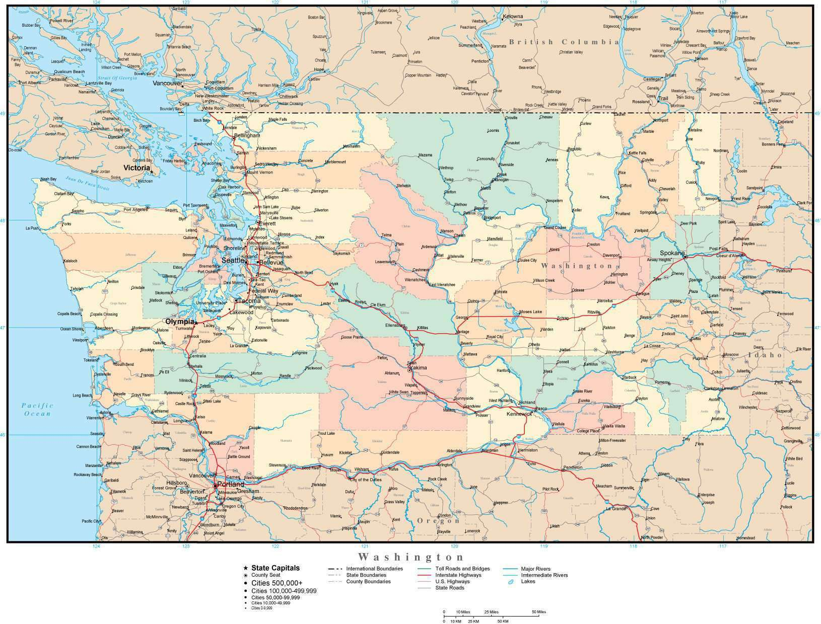 Picture of: Washington Adobe Illustrator Map With Counties Cities County Seats Major Roads