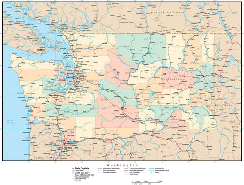 Washington Map with Counties, Cities, County Seats, Major Roads, Rivers and Lakes