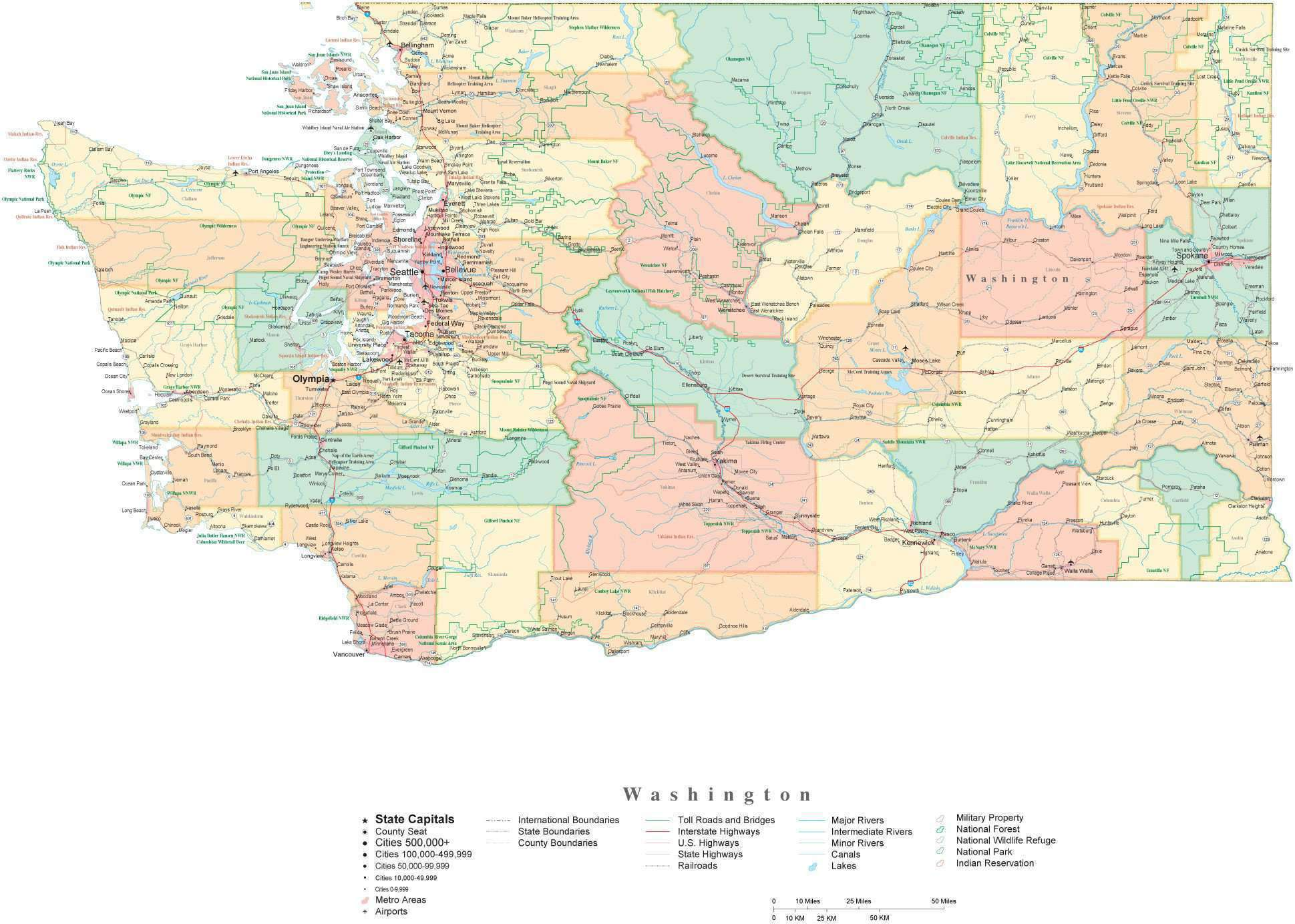 Picture of: State Map Of Washington In Adobe Illustrator Vector Format Detailed Editable Map From Map Resources