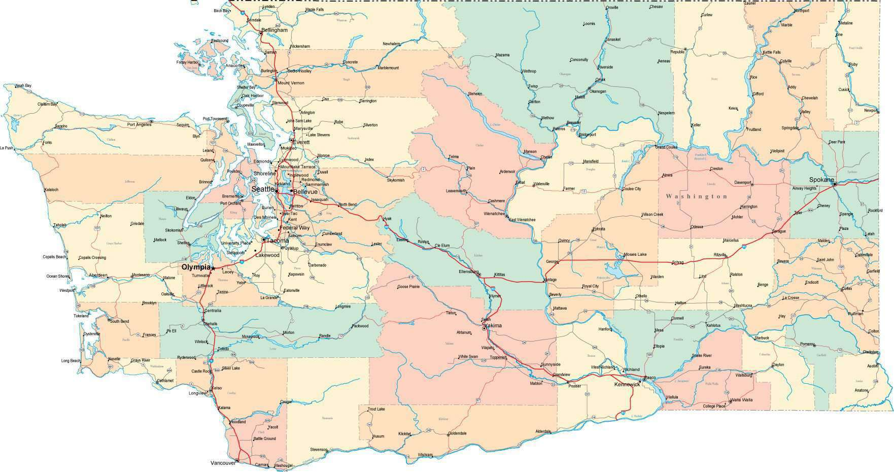 Washington State Map - Multi-Color Style - Fit Together Series