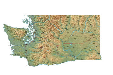 Digital Washington map in Fit Together style with Terrain WA-USA-852091