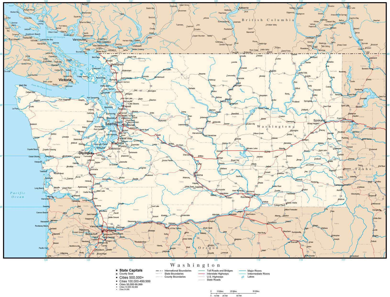 Picture of: Washington Terrain Map In Adobe Illustrator Vector Format